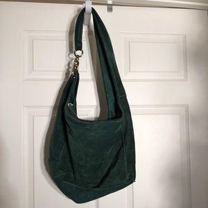 Handbags - Genuine Leather Green Suede Purse
